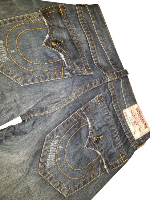 Item - Blue Medium Wash Message Any Questions Never Worn Waist Straight Leg Jeans Size 12 (L, 32, 33)