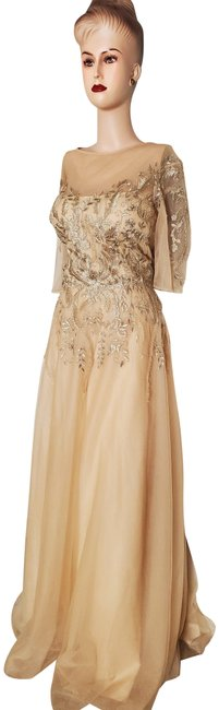 Item - Sheer Lace-bodice A-line Gown Long Formal Dress Size 14 (L)