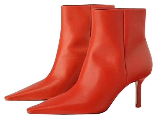 Item - Red Leather High Heeled Ankle Leather Color 6/36 New. Boots/Booties Size US 6 Regular (M, B)