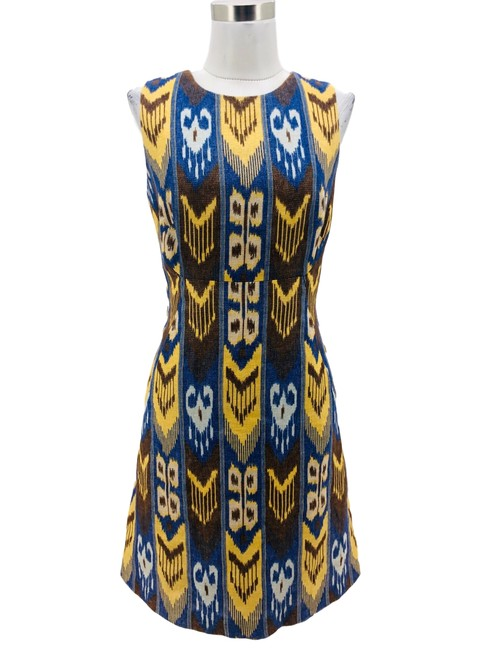 Item - Brown Yellow N1153 Designer Small Shimmer Ikat Mid-length Formal Dress Size 4 (S)