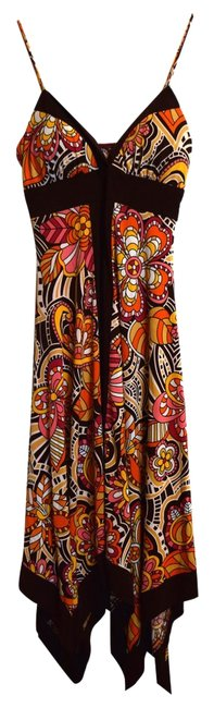 Other short dress Brown, pink, orange, yellow Sundress Retro Stretchy Graphic on Tradesy