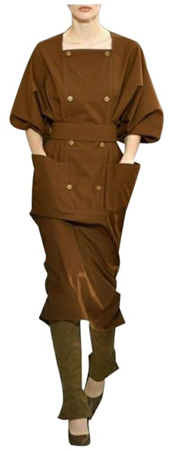 Item - Brown Dede Cotton-poplin Winged Sleeves Mid-length Short Casual Dress Size 4 (S)