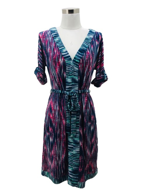 Item - Pink Purple N584 Bcbg Max Azria Designer Small 6 Abstract Mid-length Formal Dress Size 4 (S)