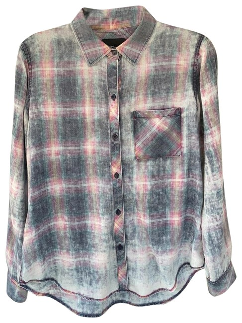 Item - Blue/Pink Hunter Cloud Wash Button-down Top Size 4 (S)