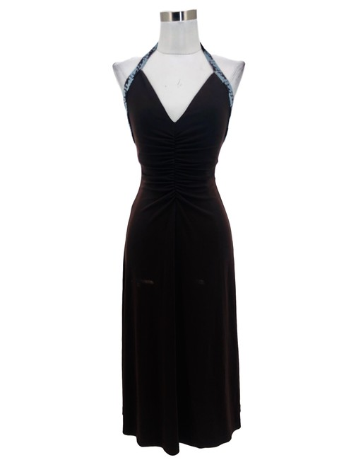 Item - Brown XS N1327 Bcbg Max Azria Designer Solid Woven Halter Mid-length Formal Dress Size 2 (XS)