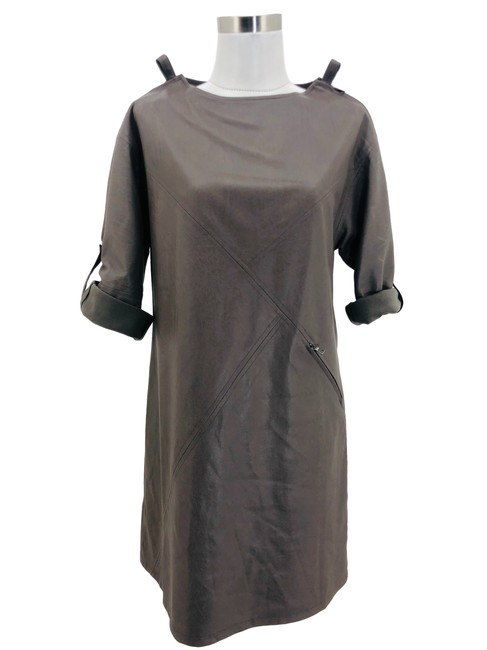Item - Gray XS N1325 Bcbg Max Azria Designer Solid Faux Leather Mid-length Formal Dress Size 2 (XS)