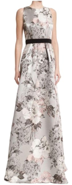 Item - Gray Sleeveless Floral-print Gown Long Formal Dress Size 6 (S)