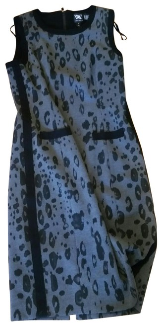 Item - Black and Gray Animal Print Sheath Mid-length Work/Office Dress Size 6 (S)