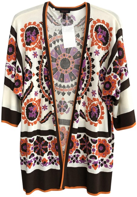 Item - Multi Color Floral Print Open Front Cardigan Size 6 (S)