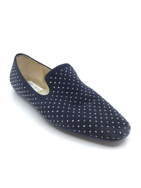 Item - Navy Suede/ Metal Studded Loafers Flats Size US 7 Regular (M, B)
