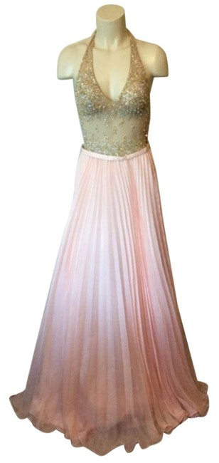 Item - Pink W Halter Neck Gown W/ Beaded Bodice Pleated Skirt Long Formal Dress Size 0 (XS)