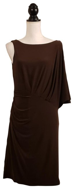 Item - Dark Brown One Shoulder Mid-length Cocktail Dress Size 12 (L)