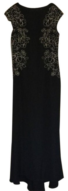 Item - Black White Lace Sequin Embroidered Gown Long Formal Dress Size 10 (M)