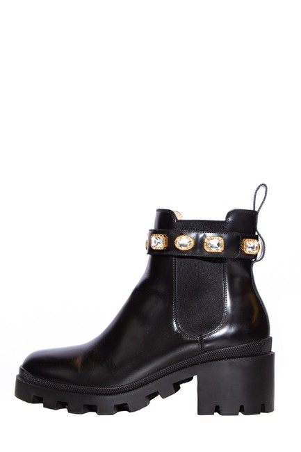 Item - Black Leather Crystal Embellishments Chelsea Boots/Booties Size EU 40 (Approx. US 10) Regular (M, B)