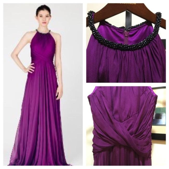 Item - Purple Embellished Halter Neck Silk Chiffon Gown Long Formal Dress Size 2 (XS)