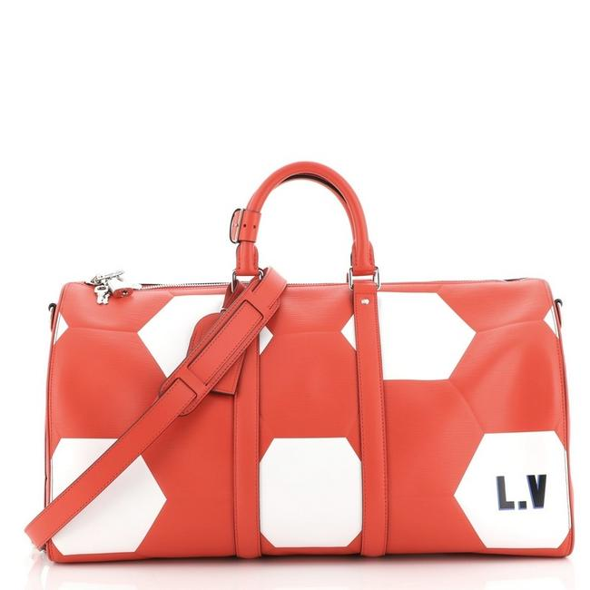 Item - Keepall Bandouliere Limited Edition Fifa World Cup Epi Leat Red White Leather Tote