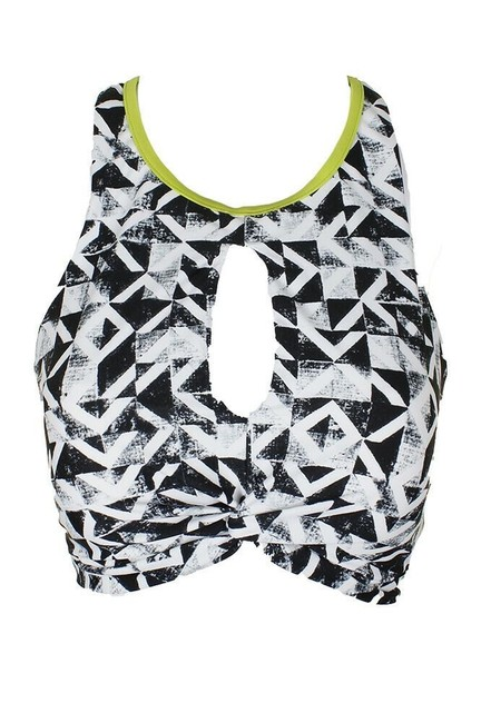Item - Green Black White Go By High Neck Keyhole Front Racerback Printed Bikini Top Size 8 (M)