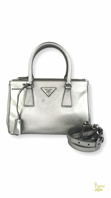 Item - Double Lux Mini #30664 Silver Leather Tote