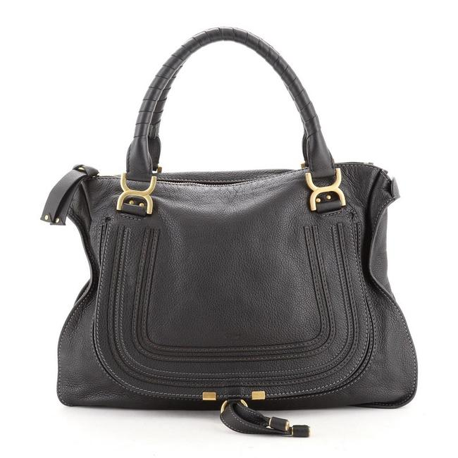 Chloé Marcie Large Black Leather Shoulder Bag Chloé Marcie Large Black Leather Shoulder Bag Image 1