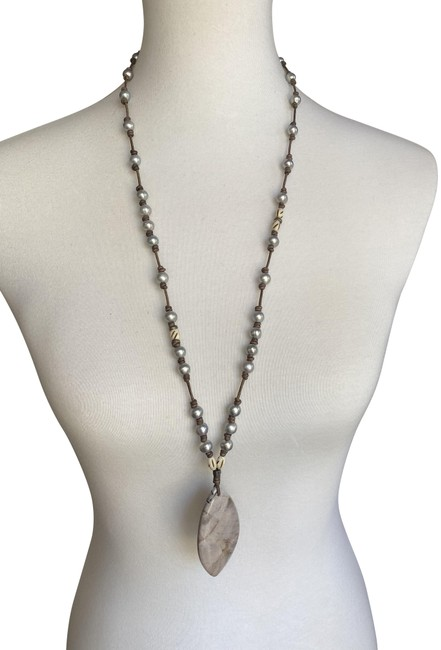 Item - Grey Pearl New Stone Pendant Long Necklace