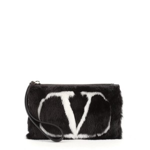 Valentino Fur Leather black Clutch