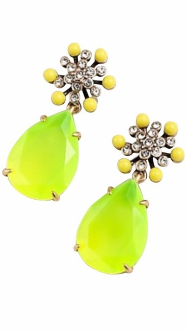 Item - Vivid Yellow Star Flower Drops with Pave Elements Earrings