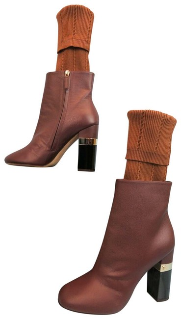 Item - Burgundy G31268 Leather Logo Sock Ankle Boots/Booties Size EU 39 (Approx. US 9) Regular (M, B)