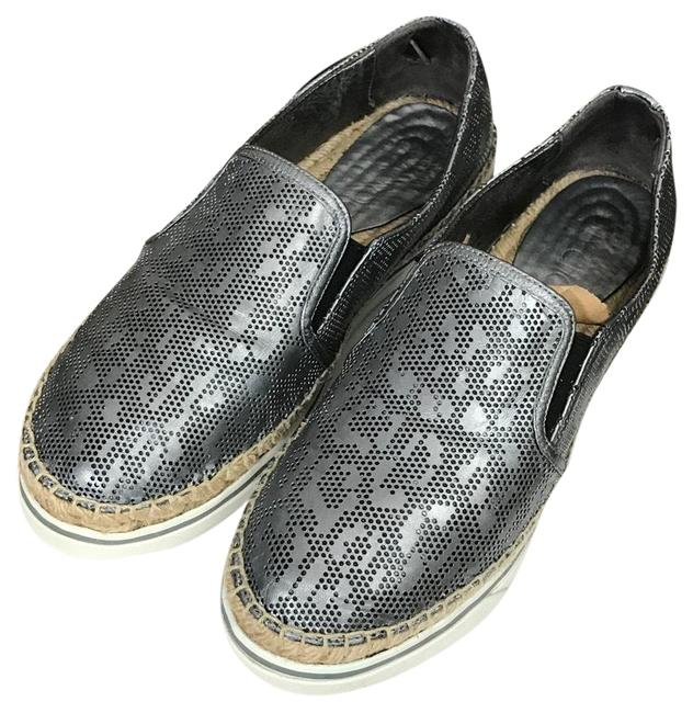 Item - Silver Perforated Leather Flats Size US 8.5 Wide (C, D)