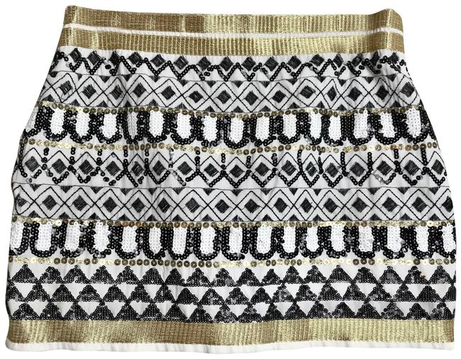 Item - Black White Gold Geometric Sequin Skirt Size 8 (M, 29, 30)