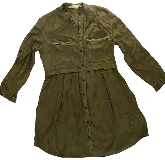 Item - Green Long Sleve Mid-length Short Casual Dress Size 2 (XS)