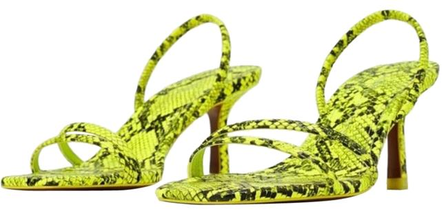 Item - Green Snake Skin Low Heeled Strappy Square Neon Green/Black 6/36 New Sandals Size US 6 Regular (M, B)