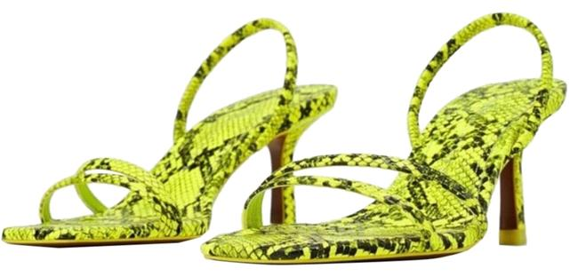 Item - Green Snake Skin Low Heeled Strappy Square Neon Green/Black 8/39 New. Sandals Size US 8 Regular (M, B)