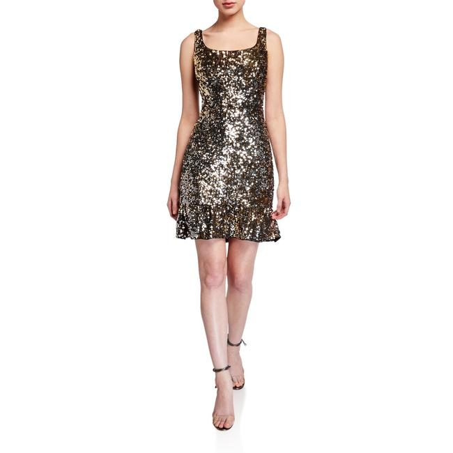 Item - Gold & Silver Sequin Ruffle Hem Sheath Short Cocktail Dress Size 6 (S)