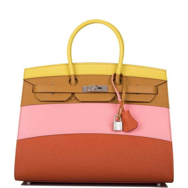 Item - Sunrise Birkin Rainbow Epsom Sellier 35cm Palladium Hardware Multi Color Deerskin Leather Tote