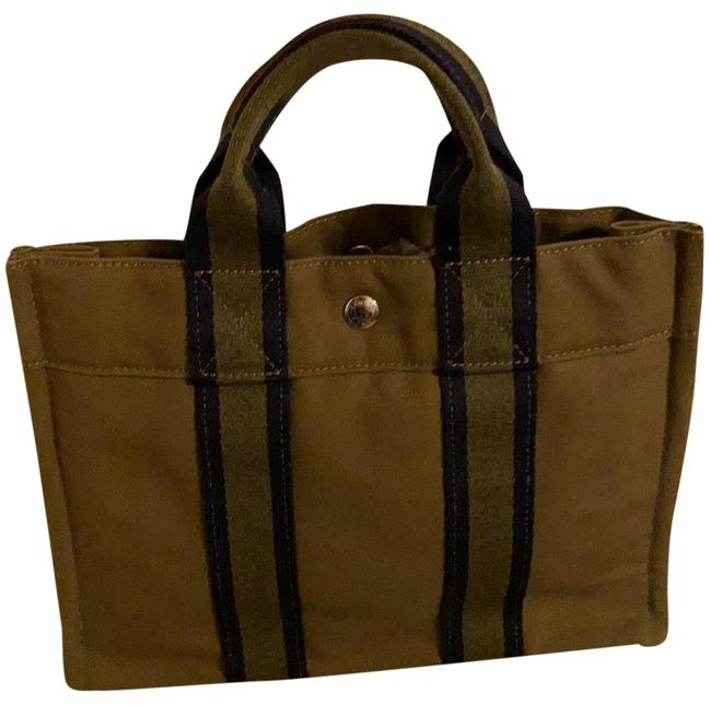 Item - Fourre Tout Pm Olive Green with Navy Stripes Canvas Satchel