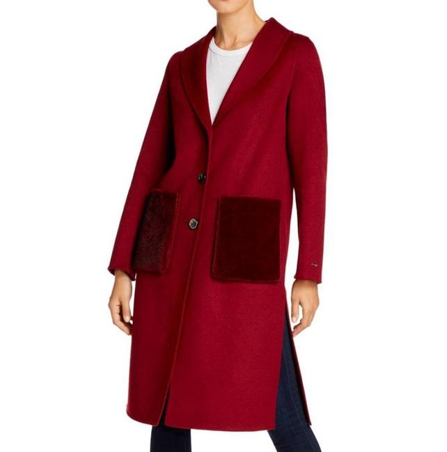 Item - Red Double Face Wool Shawl Collar Faux Mink Pocket Coat Size 12 (L)