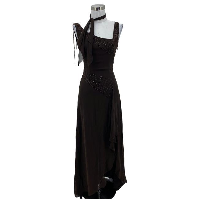 Item - Brown XS N240 Bcbg Max Azria Designer Silk Beaded Ruffle Long Cocktail Dress Size 0 (XS)