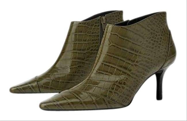Item - Green Animal Phyton Print Ankle Olive 6/36 New. Boots/Booties Size US 6 Regular (M, B)