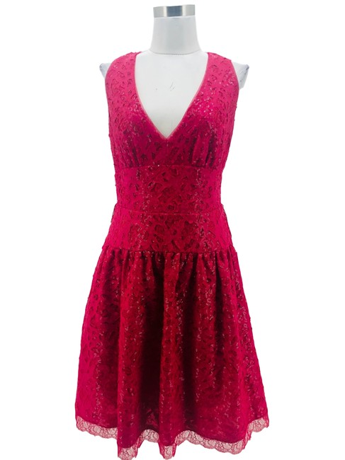Item - Pink N1027 Bcbg Max Azria Large Sequin Lace Fit & Flare Mid-length Cocktail Dress Size 10 (M)