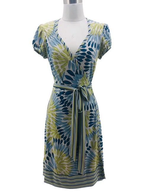 Item - Blue Green N256 Bcbg Max Azria Small Petite 6 Wrap Mid-length Formal Dress Size 4 (S)