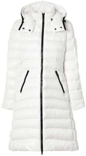 Item - White Moka Hooded Quilted Shell Down Coat Size 4 (S)