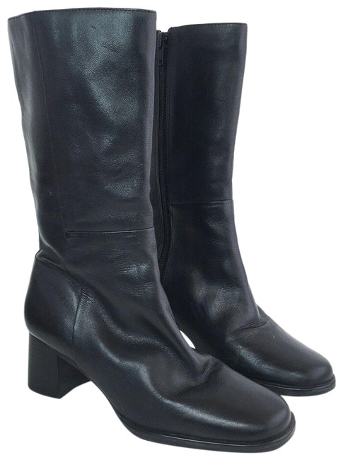 Item - Black Leather Chunky Heel Heeled Women's / 5b Boots/Booties Size US 5 Regular (M, B)