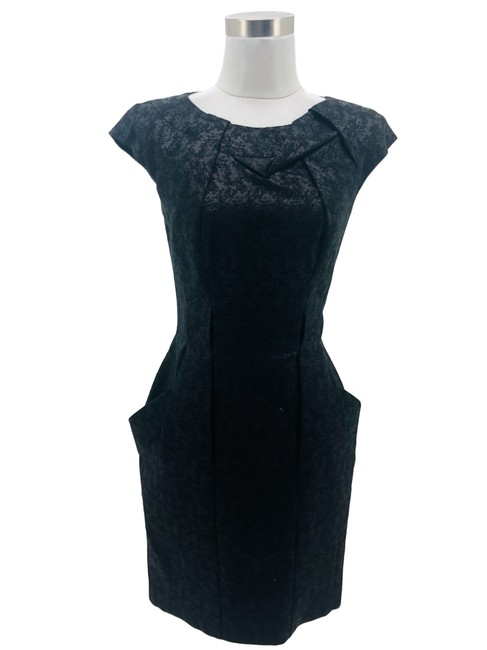 Item - Black N169 Designer Small Solid Shiny Sheath Mid-length Formal Dress Size 4 (S)