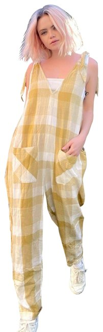 Item - Yellow Don't You Want This Plaid Boho M Romper/Jumpsuit