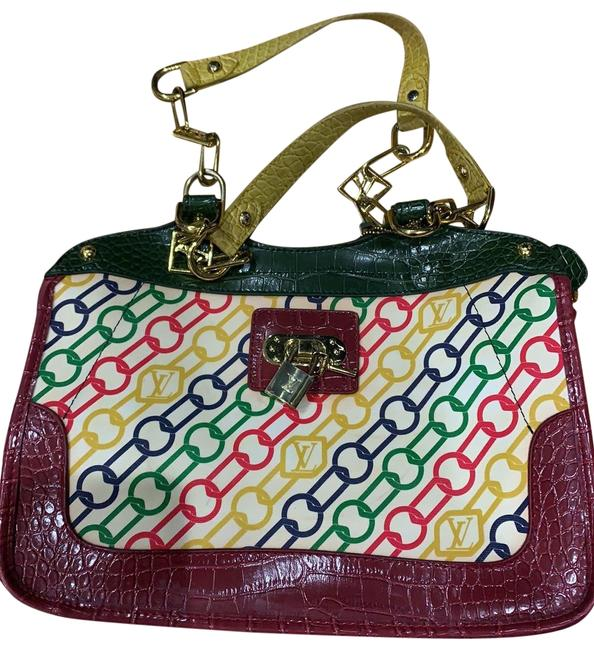 Item - Vintage Chain Link Multicolor Leather Tote