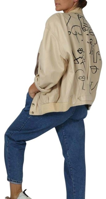 Item - Beige Ivory Lamb Hand Paint Recycled Bomber Jacket Size 12 (L)