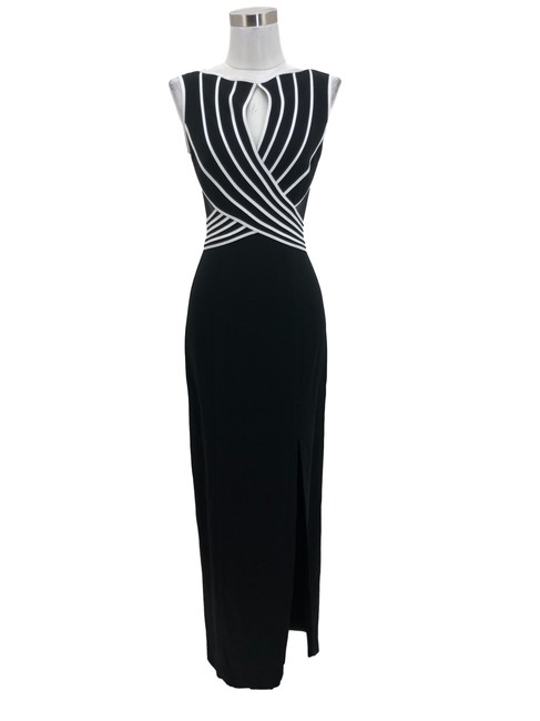 Item - Black N1362 Designer Small White Striped Maxi Long Formal Dress Size 4 (S)