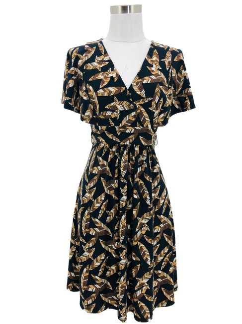 Item - Brown XS N1334 Bcbg Max Azria Designer Black Leaf Print Mid-length Formal Dress Size 2 (XS)