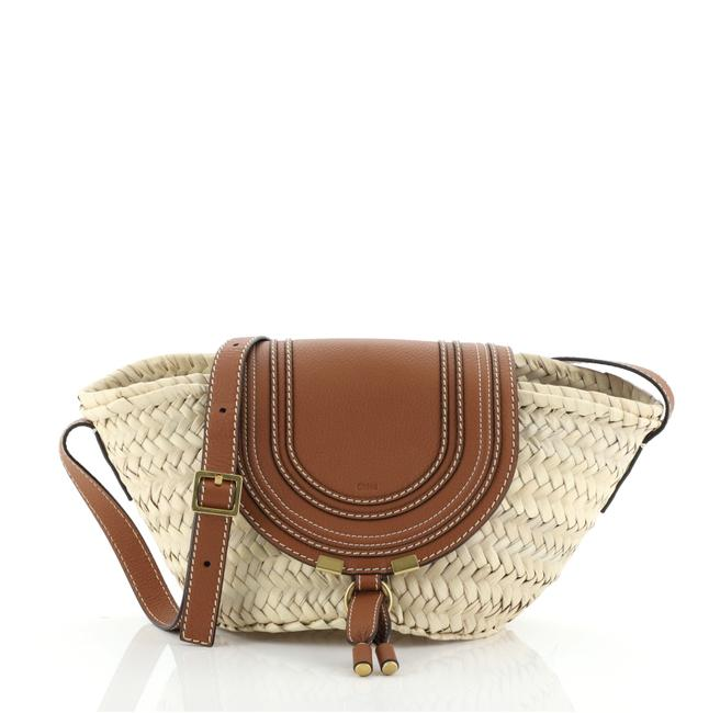 Chloé Marcie Basket and Small Neutral Leather Raffia Shoulder Bag Chloé Marcie Basket and Small Neutral Leather Raffia Shoulder Bag Image 1