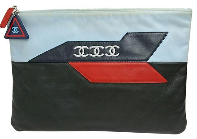 Chanel 2016ss Airline Limited A82436 Lambskin Black / Blue / Red Color / Yellow Clutch Chanel 2016ss Airline Limited A82436 Lambskin Black / Blue / Red Color / Yellow Clutch Image 1